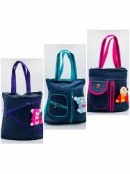 JEANS MATERIAL LADIES HAND BAG WITH TEDDY AND ZIP INSIDE - SNT-311