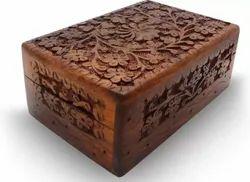 Brown Modern Sheesham Wood Jewelry Storage Box