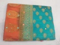 Embroidered Wedding Wear Aqua Silicon Silk Saree, Handwash, 6.3 M (With Blouse Piece)