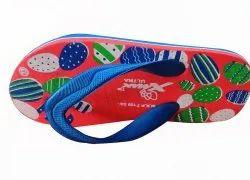 Red & Blue Kids Rubber Slipper, 6