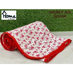 Red Flower Double Bed AC Dohar Blanket
