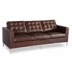 Wooden Brown Three Seater Sofa, Living Room, 6 Inch