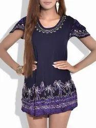 Purple Ladies Party Wear Batik Rayon Top