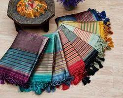 Ank Enterprise Tussar Silk Weaving Ikkat Woven Border Party Wear Saree(Bansi)