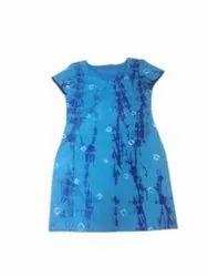 M Ladies Blue Printed Cotton Kurti, Wash Care: Machine wash