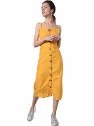 Plain 100% Crepe Ladies Yellow Casual Wear Dress, Machine wash
