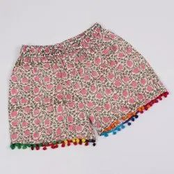 Pure Cotton Girls Fashionable Shorts In Hand Block Print