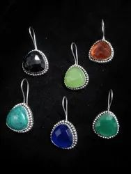 Turquoise, Back Onyx, Citrine, Green  Onyx Antique Silver Plated Earrings For Women
