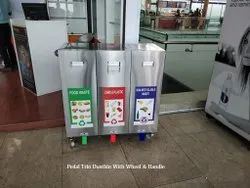 Pedal Trio Dustbin With Wheel & Handle