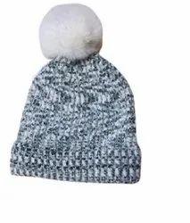 灰色羊毛女孩泡芙帽,尺寸:免费