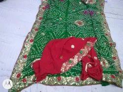 Hand Work Gotta Patti bhandhani saree