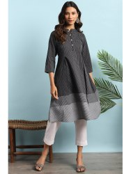 Janasya Women's Black Cotton Kurta With Pocket(J0136)