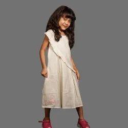 Girls Handloom Bamboo Cotton Mini Oyster Day Dress, Natural