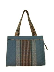 Blue Cotton Madhurkati Ladies Bag, Size: 25x27 Cm