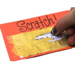 PVC Cash And Gift Scratch Cards, For Office/College, Shape: Square