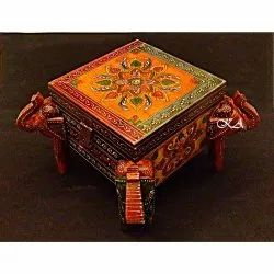 Multicolor Square Wooden Box With Four Side Elephant Face, For Storage