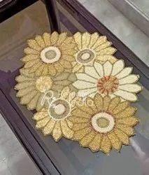 Beaded Flower Design Table Runner