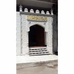 White Carved Mosque Masjid Marble Work, Polished