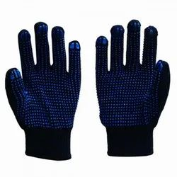 Blue Dotted Knitted Gloves, For Safety