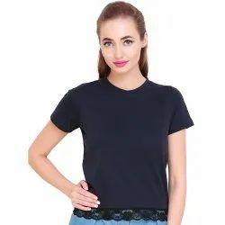 Ladies Blue Lace Plain Cotton Top