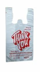 White Thank You Plastic Carry Bag, For Shopping, Capacity: 2 Kg