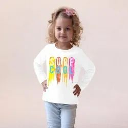 Hosiery Cotton Casual Wear Kids Girl Off White Printed T Shirt
