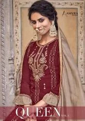 Chinon Embroidered Embroidery Work Heavy Wedding Style Sharara Salwar Suit Wholesaler, Size: Unstitched