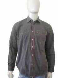Cotton Full Sleeves Men Dark Grey Party Wear Shirt, Size: Xl