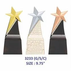 Metal Star Leatherite Trophy With Silver Stones