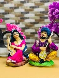 Polyresin Rajasthani Couples, For Home & Office Decoration, Dust With Dry Cloth