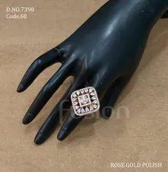 Fusion Arts Rose Gold American Diamond Finger Ring