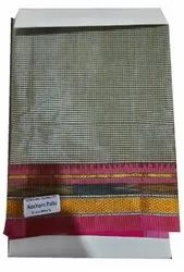Pure Cotton Casual Wear Kocham Pallu Check Saree, With Blouse, 6.2 m