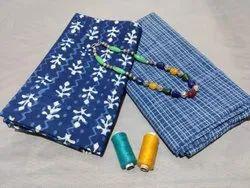 Blue Printed Cotton Suit For Ladies