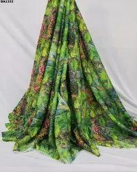 Jungle Theme Firozabad Silk Digital Print Fabric