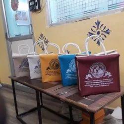 Multi coloured jute lunch bag