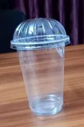 Plastic Transparent 300 Ml Juice Glass With Dome Lid