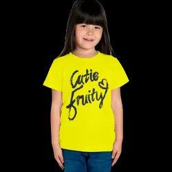 Yellow (Base) Kids Girl Round Neck Printed T Shirt