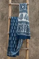 Formal Wear Printed Indigo Mul Cotton Sarees, 6 m (with blouse piece)