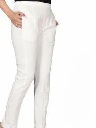 Plain White 4U Ladies Cotton Lycra Pant, Waist Size: 30 Inch