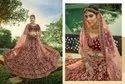 Mahogany Red Bridal Velvet Lehenga Choli With Embroidery & Hand Work