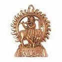 Wall Hanging Radha Krishna Idol Gold Plated Antique Finish Decorative Showpiece (Aluminium, Gold)