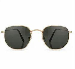Awestuffs Golden Hexagonal Sunglasses (Imported)