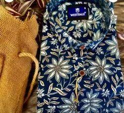 Dark Blue Printed Cotton Shirt