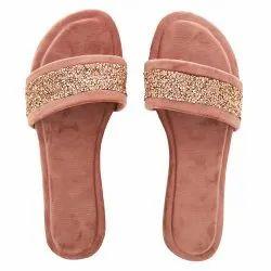 Peach Party Wear Glitter Stone Open Toe Ladies Flat Sandal, For Footwear, Size: 7