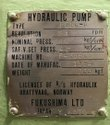 Fukushima Fg16 a Model Hydraulic Pump
