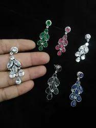 Ruby, Black Onyx Green Onyx Handmade Silver Plated Girl's Earring