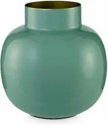Same As Image Plain Vase Metal Round Green 25 Cm (1 Piece), For Decoration, Size: Medium