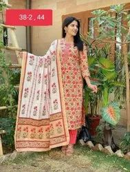 Printed Red Cotton Fabric Suit