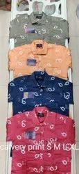 Pink Printed Men Formal Wear Calvery Print Shirt, Handwash, Size: S-xl