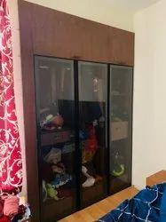 Modular Glass Door Wardrobe, For Home